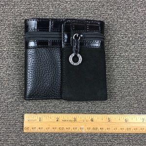 Brighton Black Leather Suede Trifold Wallet EUC